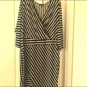 Lane Bryant stripped faux wrap dress.